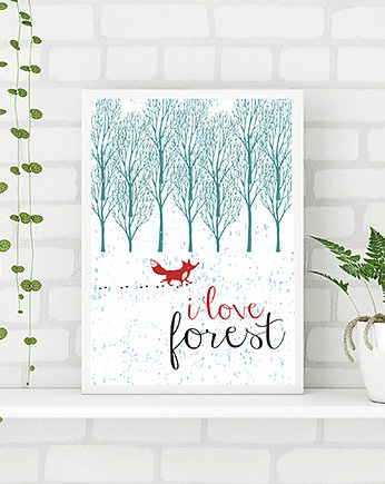 forest, leśny plakat. i love forest