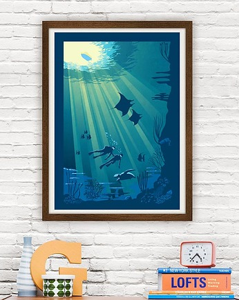 Deep Blue Diving - vintage plakat