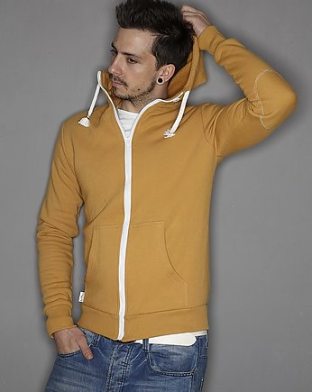 Button, Button hoodie simple blouse musztardowa mustard