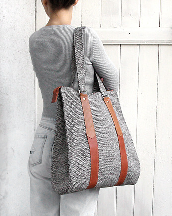 elfagado, torba xxl  -melange grey&brown leather-