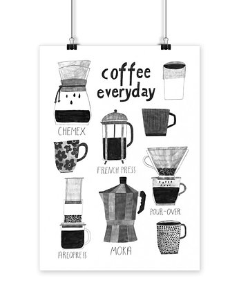 black and white, Plakat COFFEE EVERYDAY