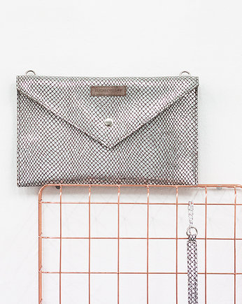 Double Sided Clutch Silver Snake