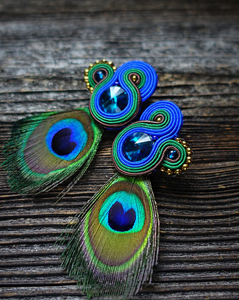 Mrosoutache, Peacock Eye-kolczyki soutache
