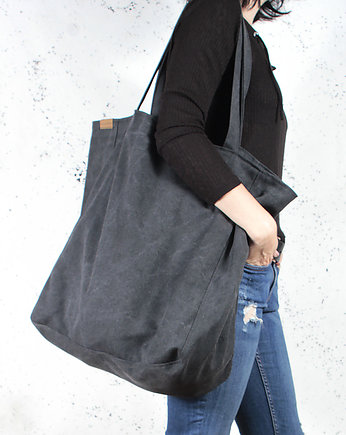hairoo, Big Lazy bag torba czarna na zamek / vegan / eco