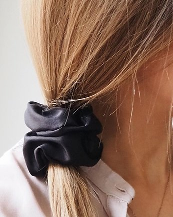 gumka do wlosow, Black Silk Scrunchie - jedwabna gumka do włosów