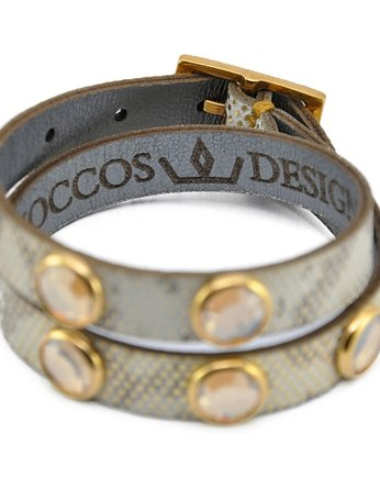 Joccos Design, Double Wrap Silver/Gold Phyton with Stones Brace