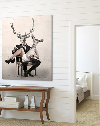 deer, OBRAZ NA PŁÓTNIE -  80x100cm marriage