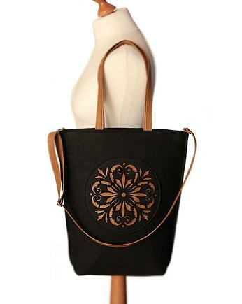 shopper bag folk 2 czarna rozeta - Czech draft