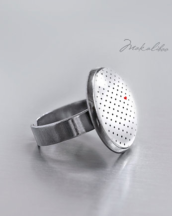 Serduszko - white dots - simple ring