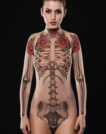 Moda na Halloween, Body z tatuażem Skeleton Glam