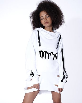Long White Hoodie with Cut Outs