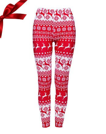 getry, Legginsy NORDIC PRINT IN RED