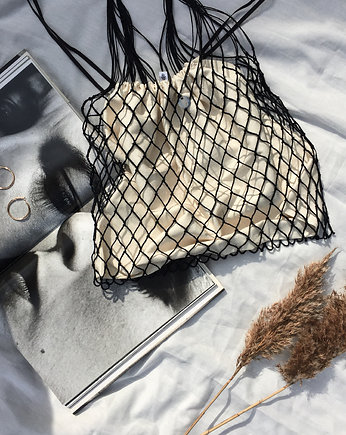 Linen Knotted Net Bag with a Soul - kremowy wore