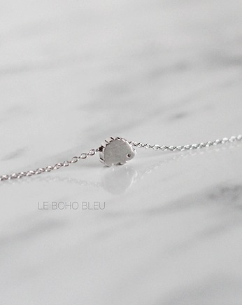 lebohobleu, Rhodium Plated Tiny Hedgehog Necklace