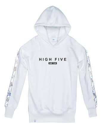 Harp Team, Bluza Damska Hoodie Ex Ove High Five White