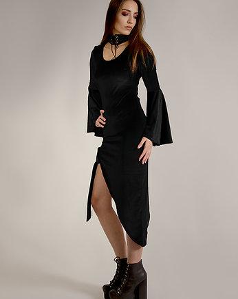 188a629b583f71 Asymetryczna sukienka z weluru bordo - Moda - sukienki - midi ...