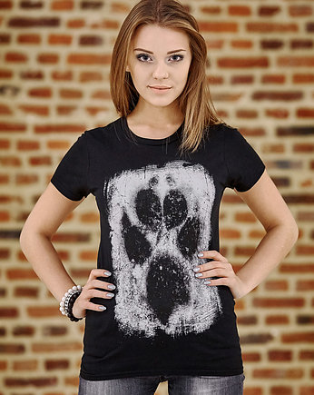czarna koszulka, T-shirt damski UNDERWORLD Animal footprint