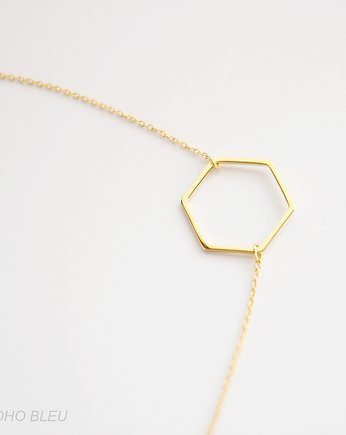Delikatna biżuteria, 16k Gold Plated Hexagon Necklace