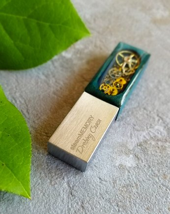 steampunk, steamMEMORY of Wood (Turquoise) - Pendrive, USB
