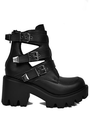 black, ALTERCORE botki na platformie Randa Vegan Black