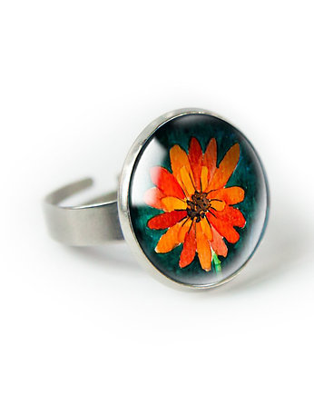 muamua design, ORANGE FLOWER pierścionek