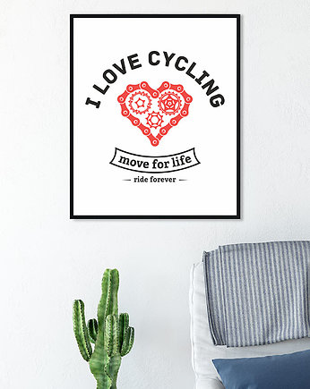 sport, plakat. I love cycling