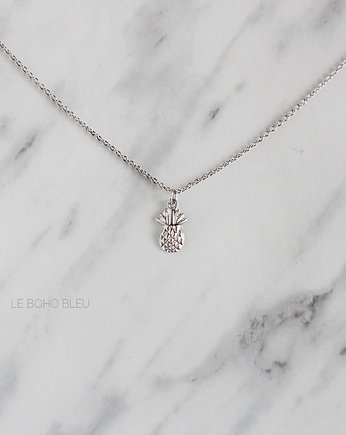 Srebro, Rhodium Plated Pineapple Necklace