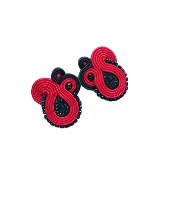bizuteria autorska, Flamenco collection Esmeralda- kolczyki Soutache