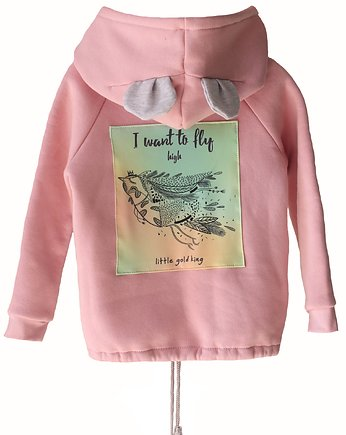 Bluza I WANT TO FLY  pink zip