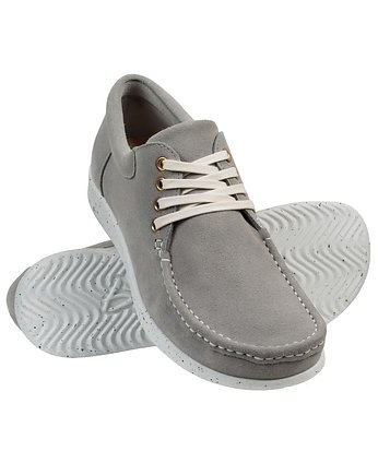 Quiet Gray, Suede Light Grey Moccasin