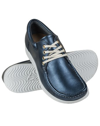 Full-Grain Navy Metalic Moccasin