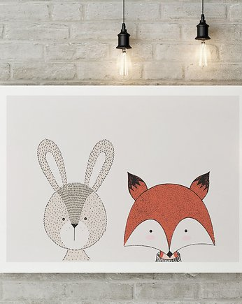 Miss Rabbit Mr Fox, Królik & Lis plakat  50X70 / A3 / A4