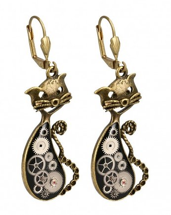 steampunk, KOLCZYKI STEAM - CAT Blue