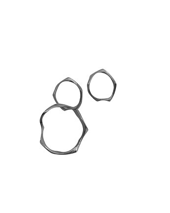 Filimoniuk, WAVES Circle asymmetrical / black silver earrings