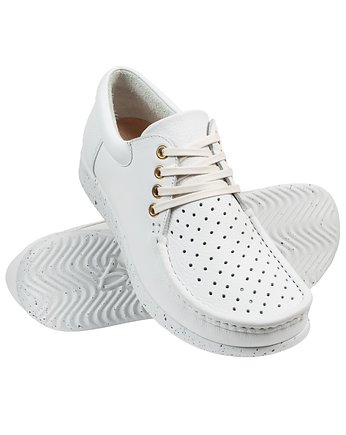 Bara made by Wama Polen, Full-Grain White Perforated Moccasin