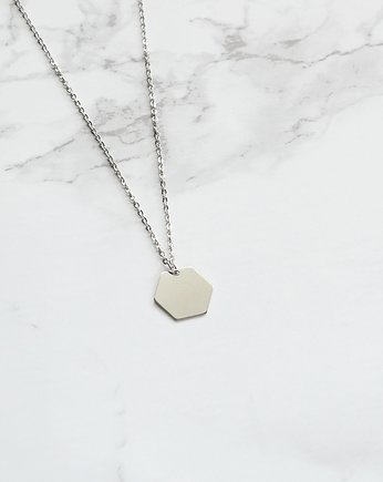 Small Hexagon Necklace in Silver