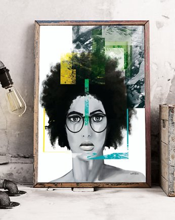 Be ART, plakat grafika Afro green