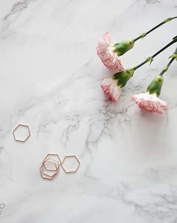 pierścionek, Rose Gold Plated Hexagon Shape Ring