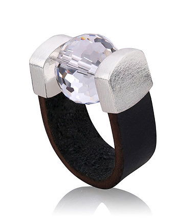 Joccos Design, Disco Ball Black Leather Ring in Silver