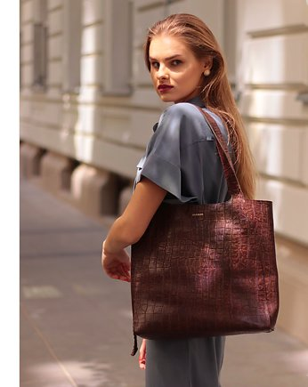 LEPOLLEN, Brown Crocodile Shopper Bag