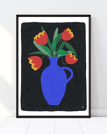 autorskie plakaty, red tulips  flowers art giclee print