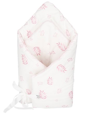 Rożek 100% organic cotton GOTS Dusty pink leaves,