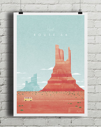 travel, Route 66 - vintage plakat