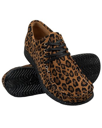 Suede Leopard Printed Moccasin with black adds
