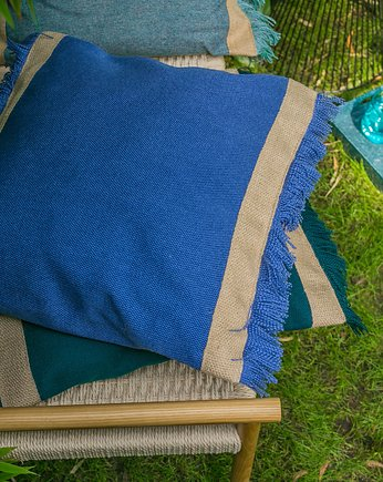 fringe pillow -  blue