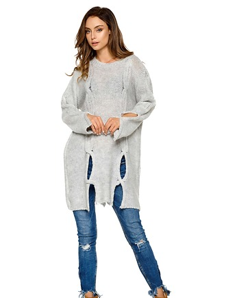 de4b5097924961 Moherowy sweter z wycięciami LS220 -jasnoszary