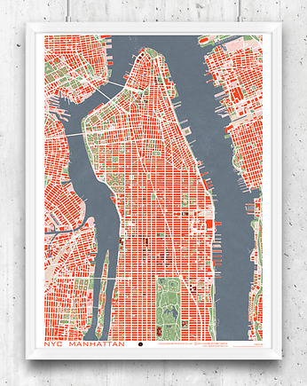 New York - plan miasta, plakat