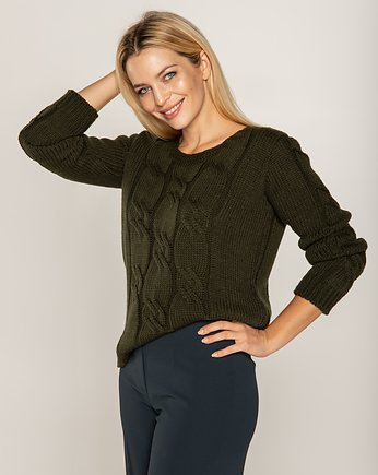Bee and Donkey, Sweter w warkocze khaki