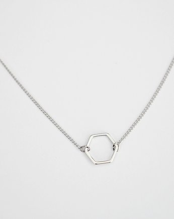 Silver, Rhodium Plated Tiny Hexagon Necklace