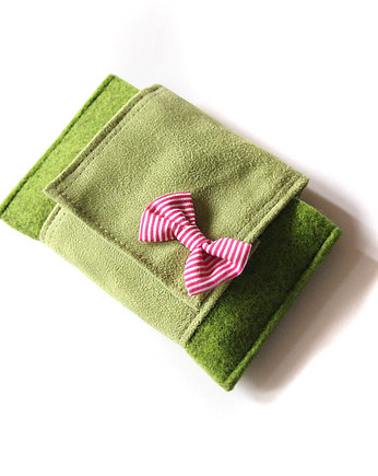 elfagado, etui II- green melange&light green&pink stripes